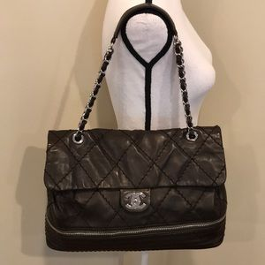 CHANEL Classic Quilted Leather Zip Bottom Flap Bag